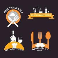coleção de logotipo retrô de restaurante vetor