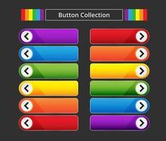 coleção de botão de seta colorida vetor