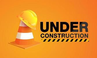 sob signo de construção com chapéu no cone de trânsito vetor