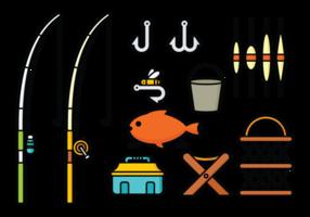 Rodas de pesca e vetores de ferramentas
