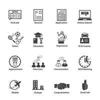 ícones de emprego de negócios vetor