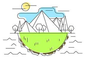 Ilustração geométrica do vetor do prado da montanha