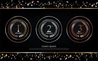 campeão ouro, prata e bronze prêmio círculo conjunto medalha