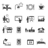 horário comercial e conjunto de ícones de rotina diária vetor