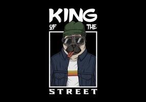 rei do cão pug vetor