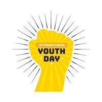 dia internacional da juventude design com punho amarelo vetor