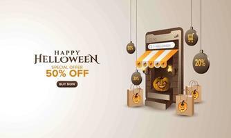 banner de compras de venda de halloween online vetor