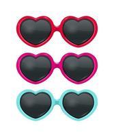 conjunto de óculos de sol em forma de coração vetor