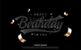 feliz aniversário design com fitas douradas no preto