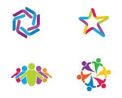 conjunto de logotipo estrela comunitária vetor