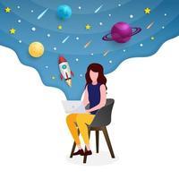 mulher com laptop e galáxia atrás vetor