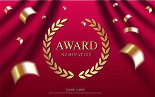 design de nomeação de prêmio r com confetes dourados
