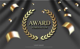 fundo de nomeação de prêmio com fitas e cortina cinza