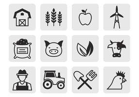 Vetor de ícones agrícolas grátis