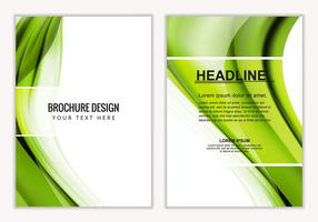 Brochura de negócios ondulados verdes verdes do vetor livre