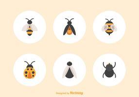 Ícones de vetores de insetos planos gratuitos