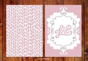 Cartões de casamento desenhados mão bonito vetor