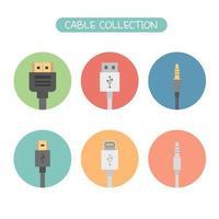 conjunto de ícone de coleção de cabos vetor