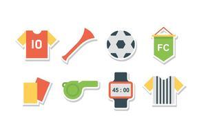 Conjunto grátis de ícones de futebol plano vetor