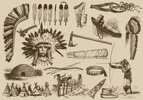 Itens nativos americanos vetor