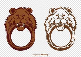 Aldrava livre da porta do leão do vetor