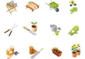 Pacote de vetores de ícones de jardinagem
