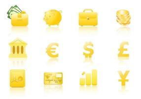 Pacote do vetor do ícone do dinheiro do ouro