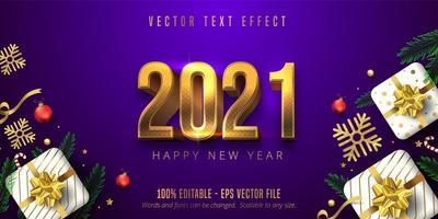 2021 feliz ano novo efeito de fonte vetor
