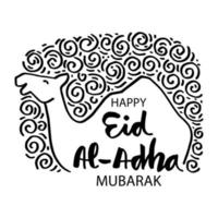 feliz eid al-adha design com camelo vetor