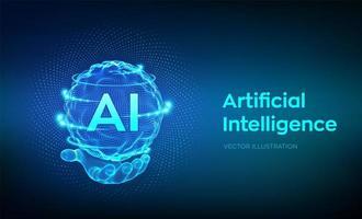 logotipo de inteligência artificial na mão