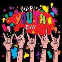 feliz dia da juventude rocha mão símbolo design