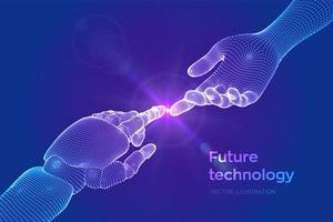 mãos do robô e toque humano vetor