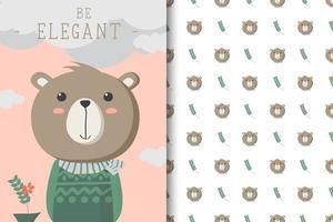 ser elegante padrão de urso vetor