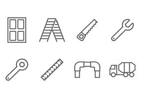 Vetores de ícone de linha de construção