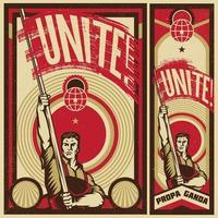 levantando o cartaz da bandeira de propaganda vetor