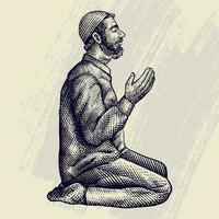 mão desenhada gravura do homem muçulmano rezando vetor