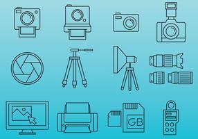Ícones profissionais de fotografia vetor