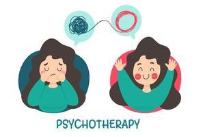 uma mulher com problemas mentais causa tristeza vetor