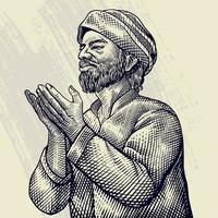 mão desenhada gravura do velho rezando vetor