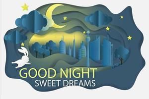 cidade à noite com design de bons sonhos de coelho vetor
