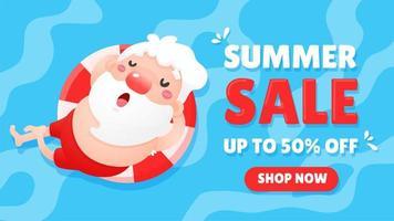 venda de verão com Papai Noel vetor