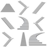 conjunto de escadas em branco vetor