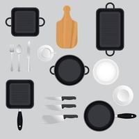 conjunto de panelas e utensílios de cozinha vetor
