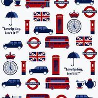 padrão britânico de desenho animado sem costura com bandeiras vetor