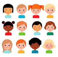 conjunto de rostos de crianças diferentes