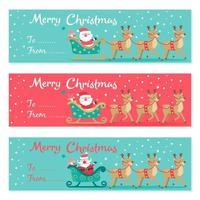 conjunto de Papai Noel dirigindo em um banner de trenó