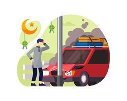 acidente de carro em um poste quando ele quer ir no feriado do Ramadã