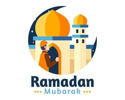 fundo de ramadan mubarak com homem rezando na frente da mesquita vetor