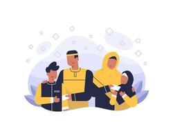 feliz eid al fitr fundo com ilustração de família muçulmana vetor