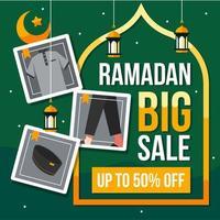 fundo de grande venda do Ramadã com ícones da moda
